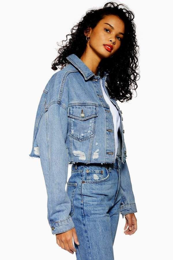 Blue Ripped Hacked Denim Jacket Denim Jacket Women Denim Jacket Topshop Denim Jacket