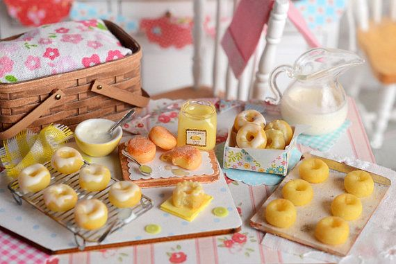 Miniature Baking Lemon Doughnuts by CuteinMiniature on Etsy