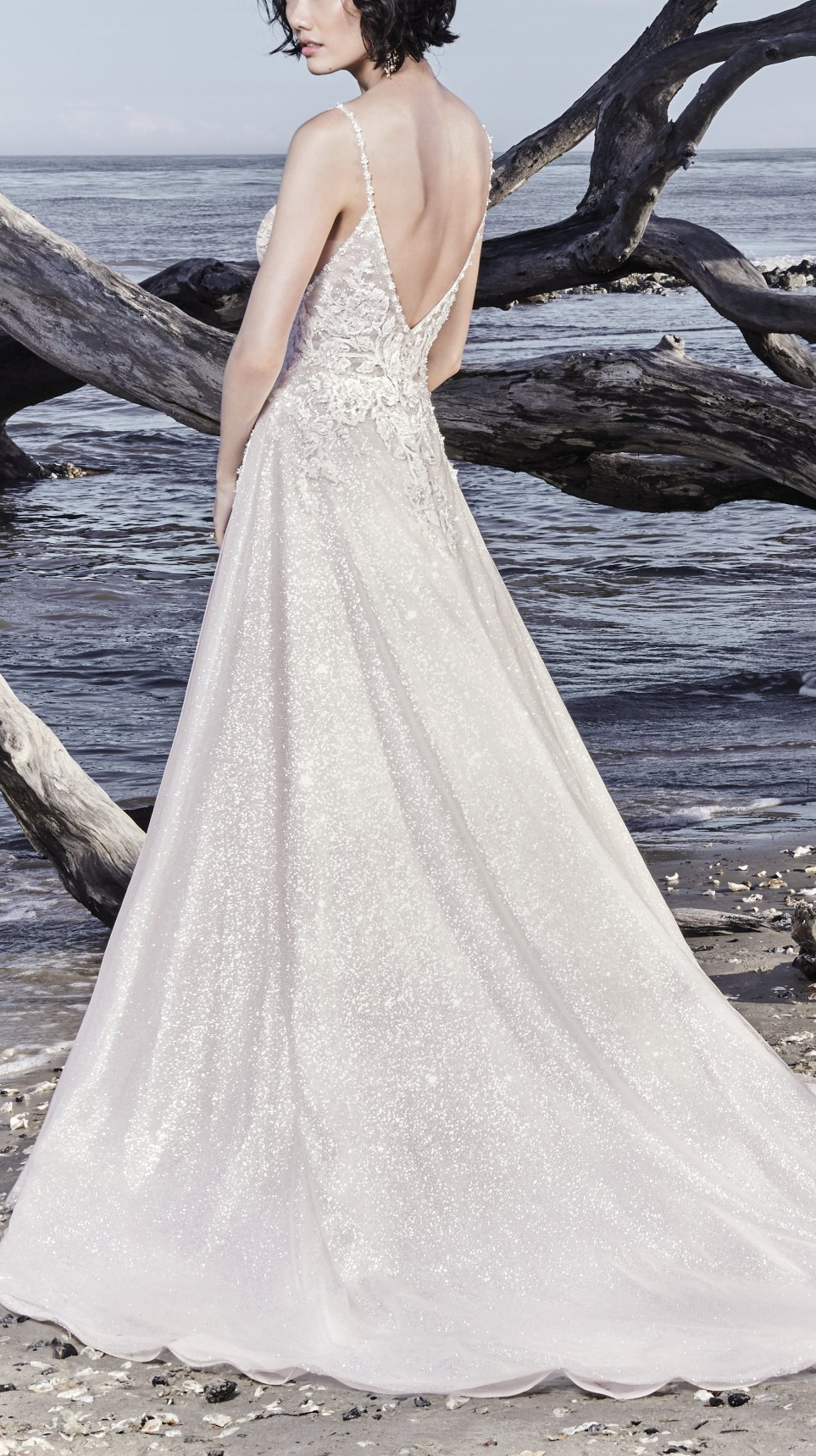 b8b68f884539 Sottero and Midgley - CHAD, This shimmering A-line wedding gown is  comprised of unique sparkle tulle, with beaded lace motifs accenting the  sexy sheer ...