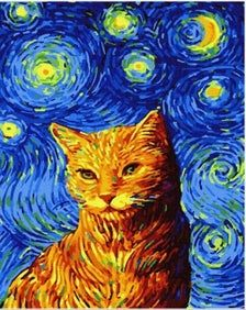 Paint by numbers kit cat, Van Gogh  acrylic paint by number set With Frame Canvas  DIY Gift Painting