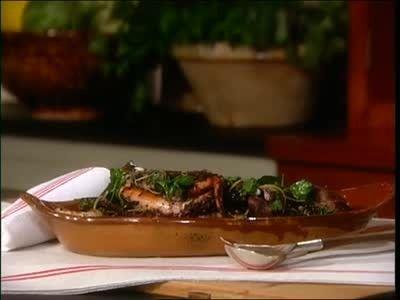 Martha Stewart and chef David Pasternack prepare grilled octopus.