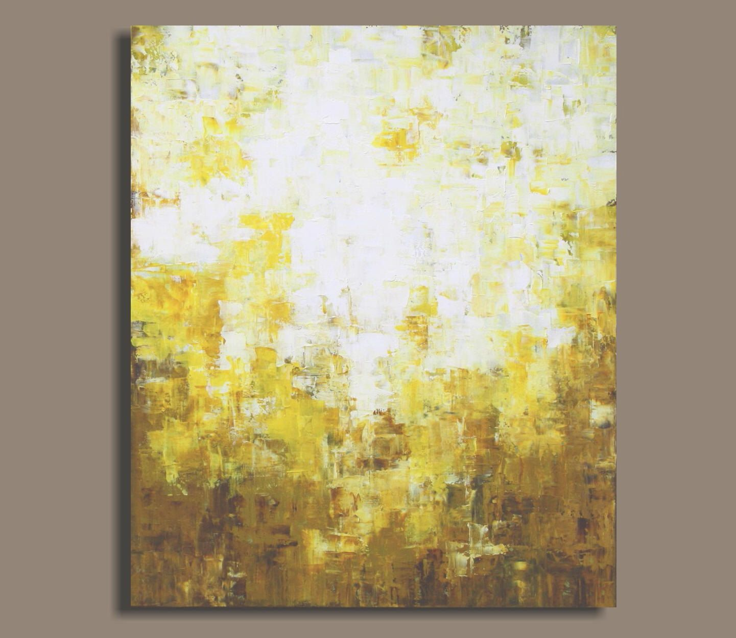 Huge Abstract Painting in Yellow and Earthtones - A Play of Light ...