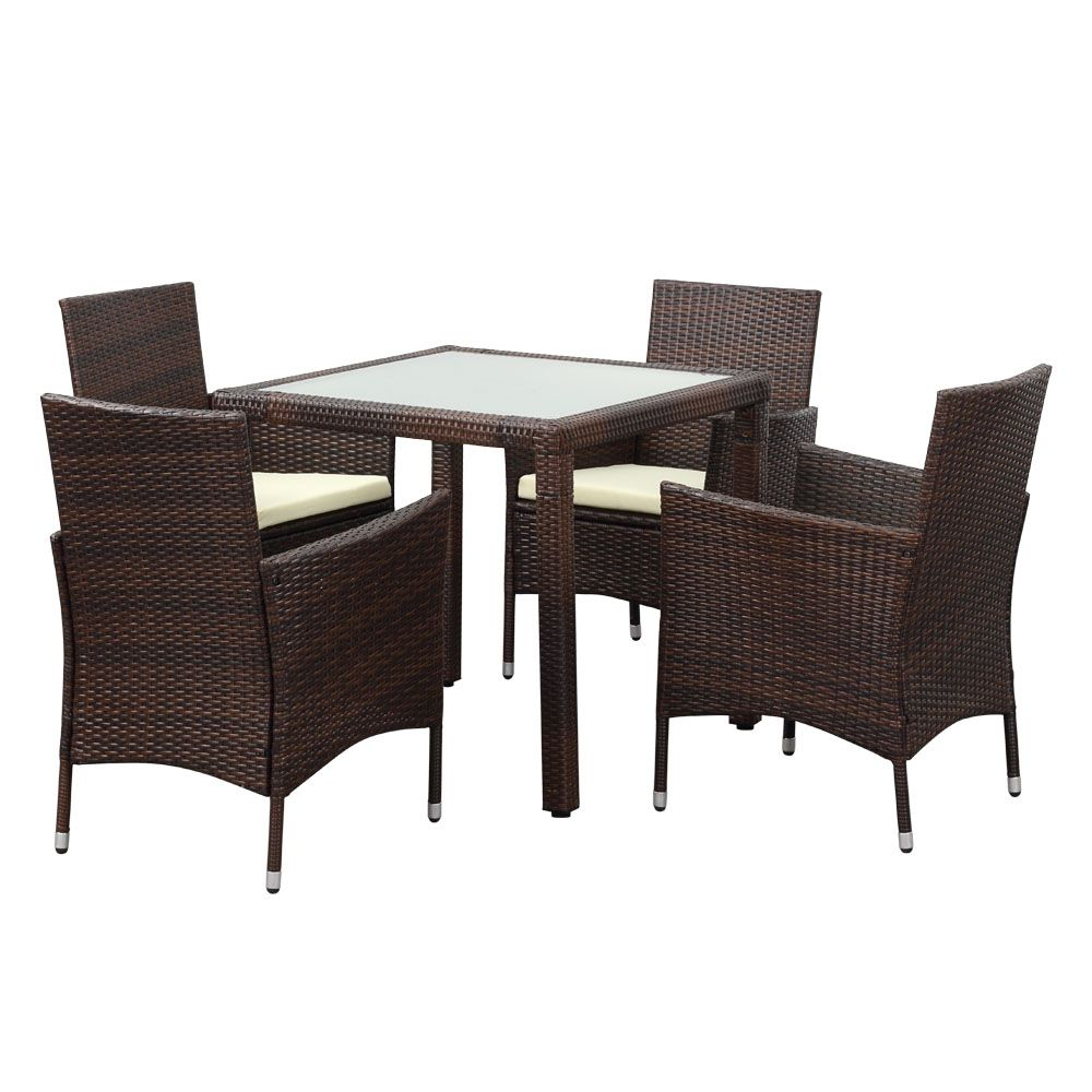Brown Ikayaa 5pcs Rattan Wicker Outdoor Patio Dinning Table Set Brown Lovdock Com Quality Outdoor Furniture Dinning Table Set Patio Furniture Sets