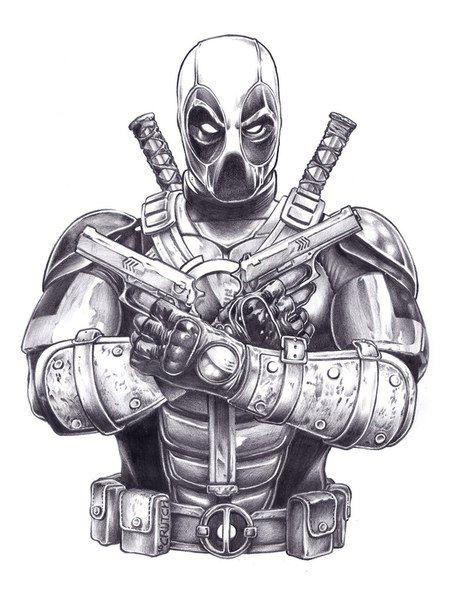 Deadpool tattoo superhype for Marvel sleeve tattoo black and white