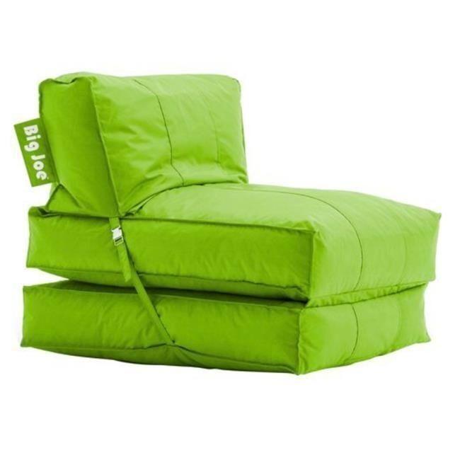 Big Joe Flip Lounger Green Bean Bag Chair Dorm Kids Room Tv Couch
