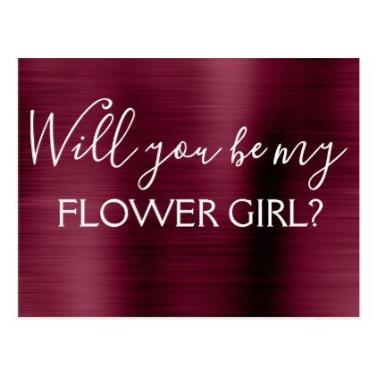 Burgundy Purple Elegant Flower Girl Wedding Postcard  Wedding