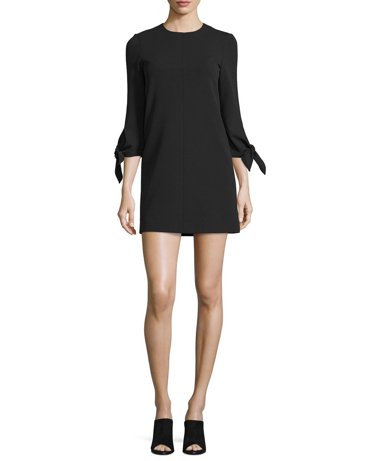 2109789acb Tie-Sleeve Structured Crepe Shift Dress, Black | Be Chic