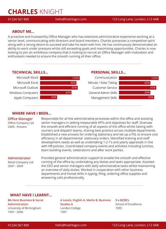 Skill Chart CV   Resume Design Red from Hashtag CV Standout CV - ba resume