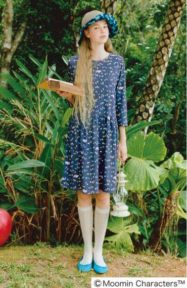 A Moomin dress! Fashion collection[ファッションコレクション]|ムーミン たちがお花畑でお昼寝中カットソーワンピースの会(3回限定コレクション)|フェリシモ