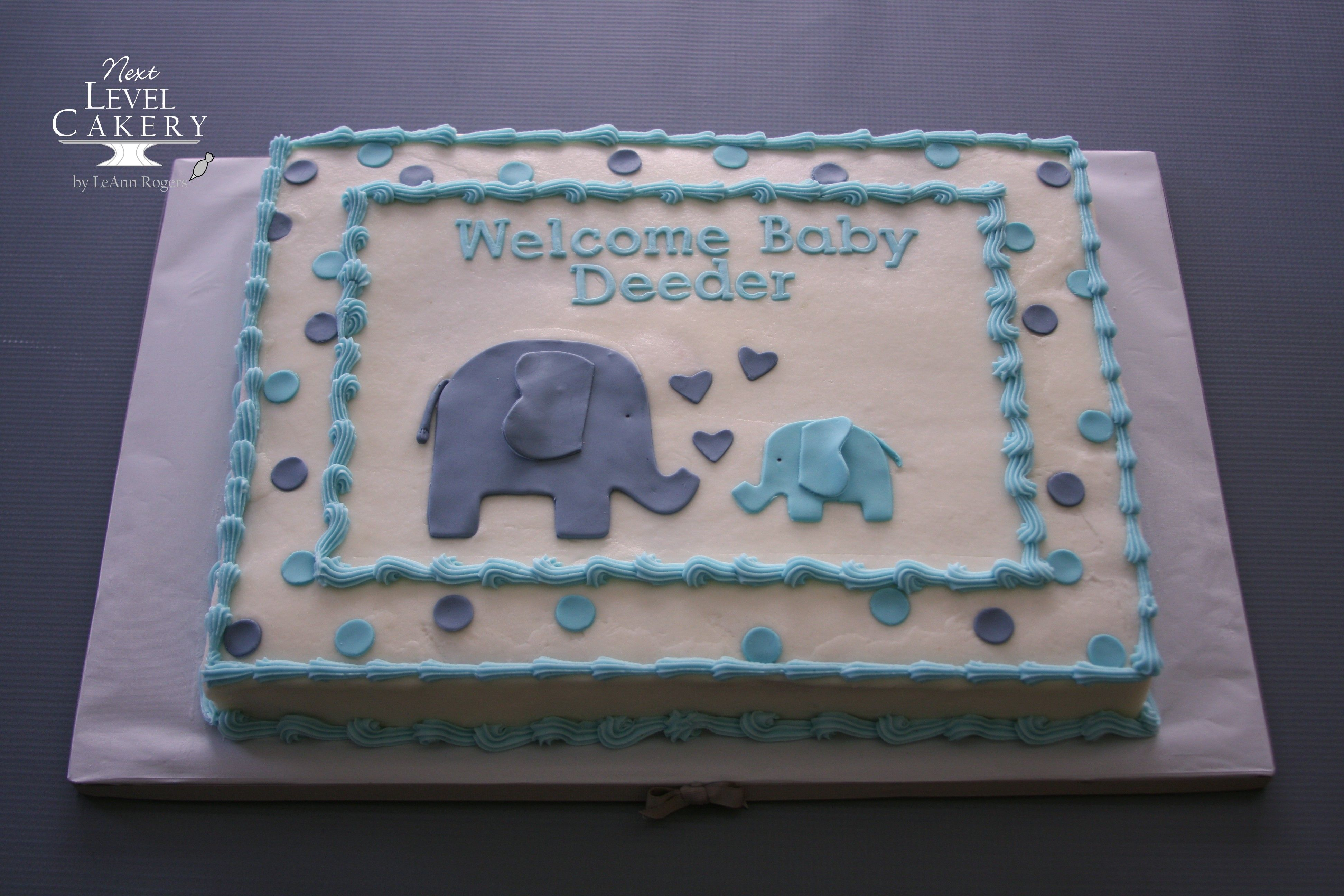 Baby Boy Shower Cake Sheet Cake Elephants Polka Dots With