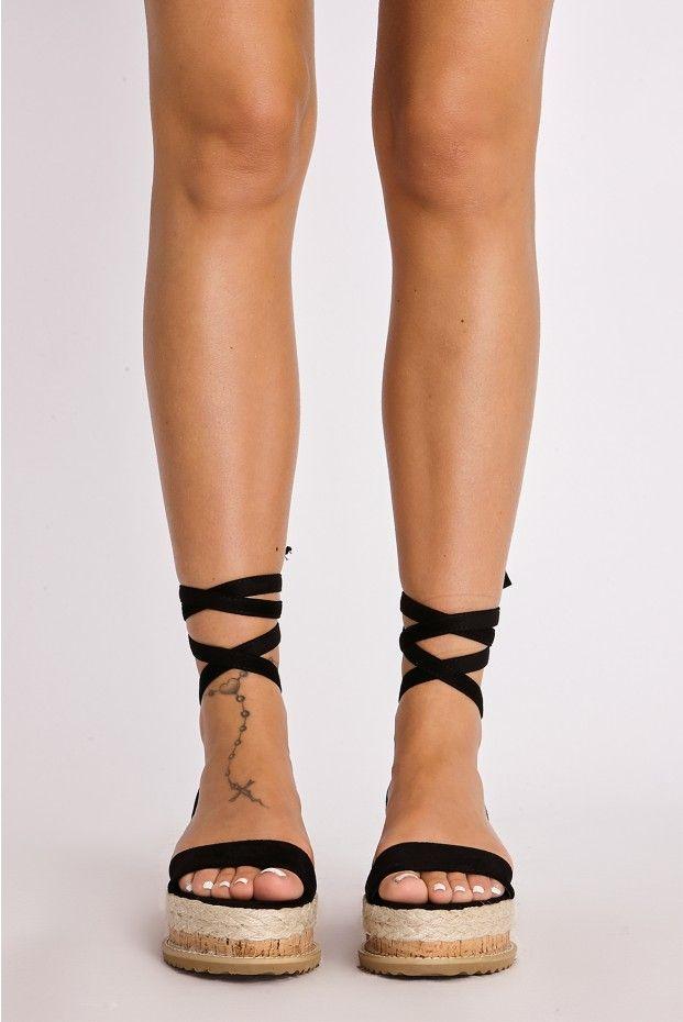 aa6d997ed03 SELBY BLACK FAUX SUEDE TIE LEG PLATFORM ESPADRILLES