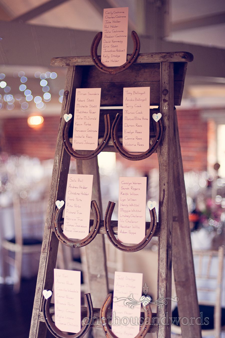 Step Ladder And Horseshoe Table Plan From Wedding At