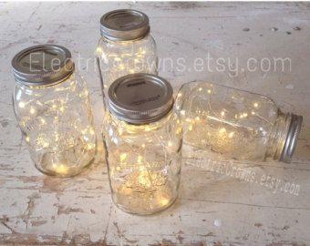 Sale!! 8 Firefly Lights and Mason Jar Centerpieces Wedding Centerpieces fairy lights vintage lights wedding rustic Wedding mason jar lights