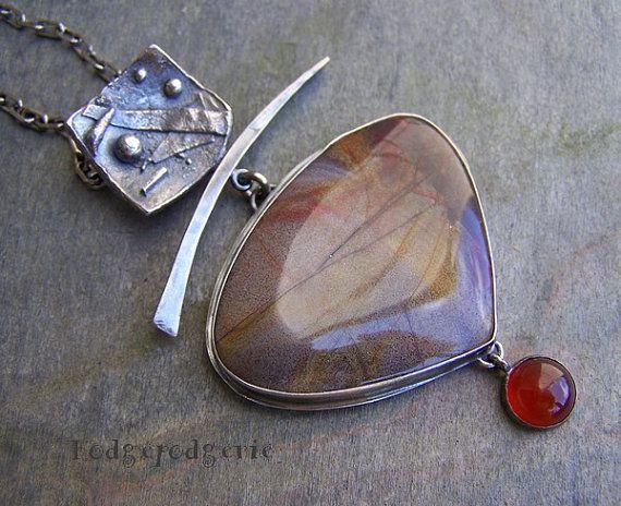 Serape Jasper, Carnelian and Sterling Silver Necklace by hodgepodgerie2  $269.00