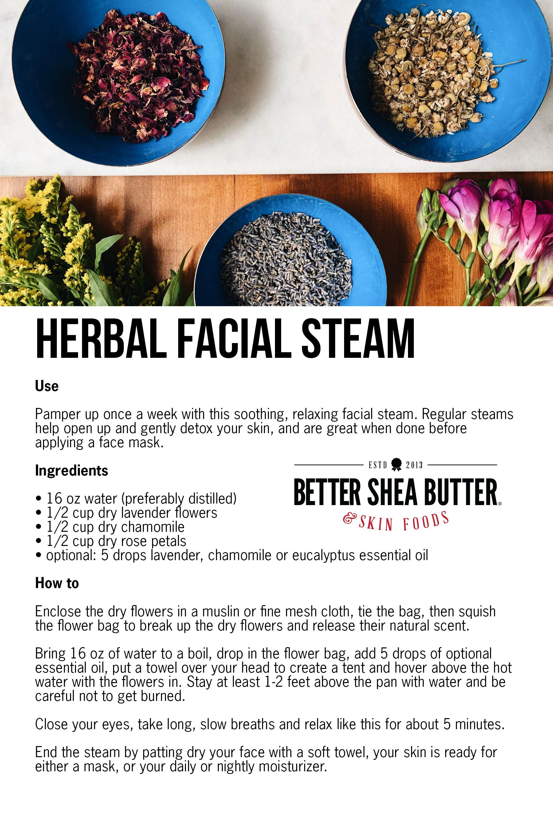 Photo of DIY Facial Steam w/ Dry Lavender, Chamomile, Rose