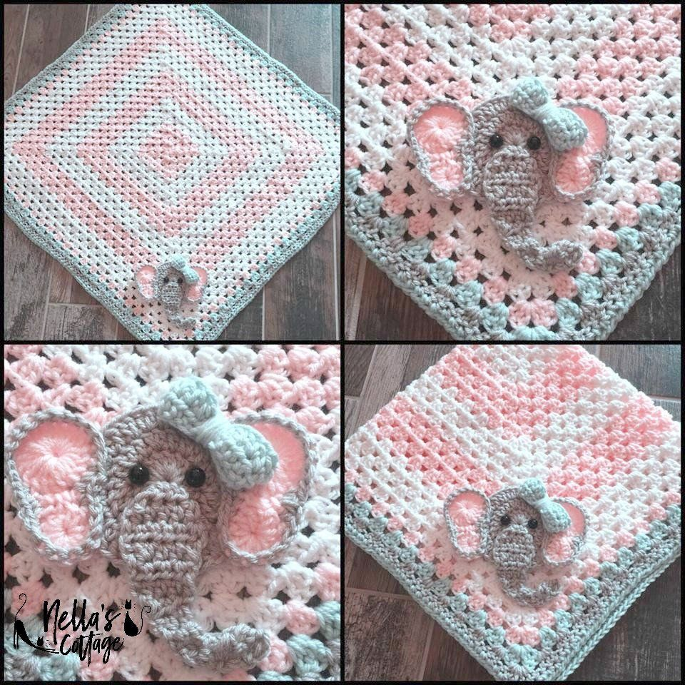 Granny Square crocheted baby blanket with elephant accent. Order for ...