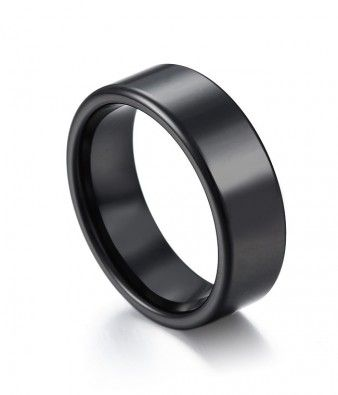 Clic High Polish Black Ceramic Wedding Band Tungsten Republic