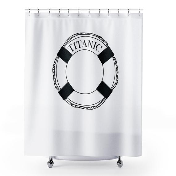 White Shower Curtain Matching Mat Set Titanic White Shower