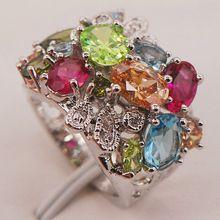 Rainbow /& ROSE TOPAZE /& Morganite gemme argent bague de mariage Taille 6 7 8 9 10