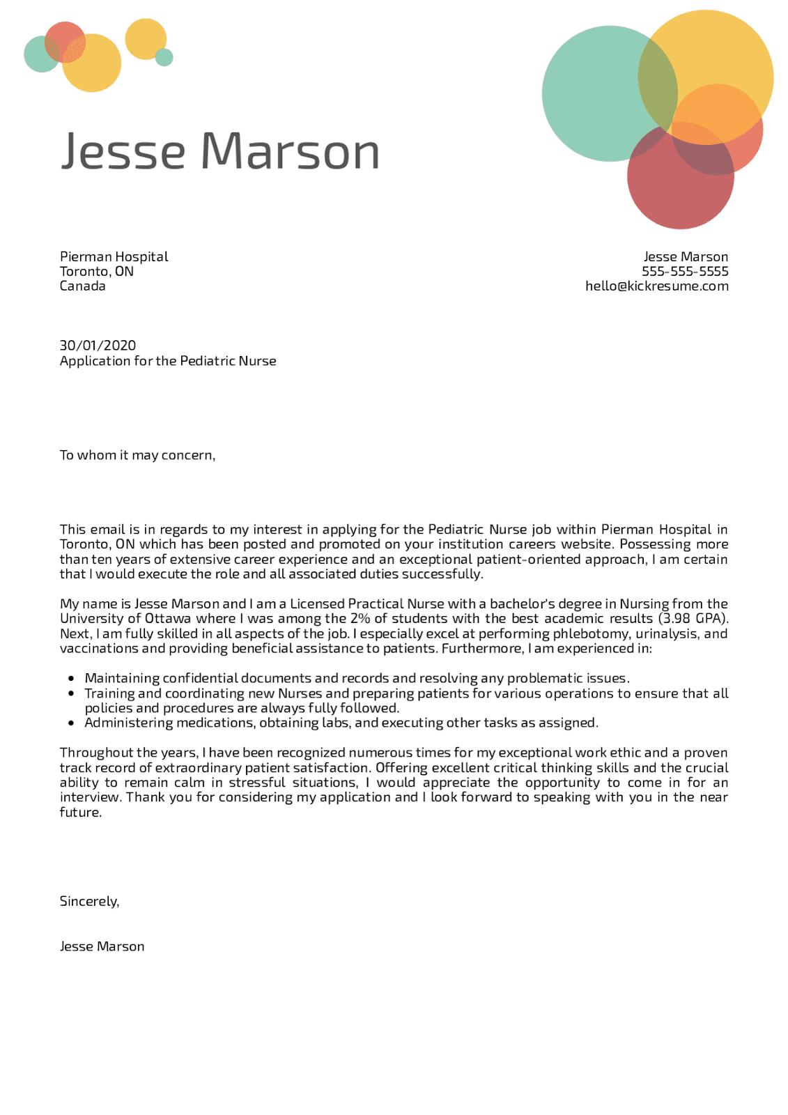 Pediatric Nurse Cover Letter Sample Kickresume in 2020