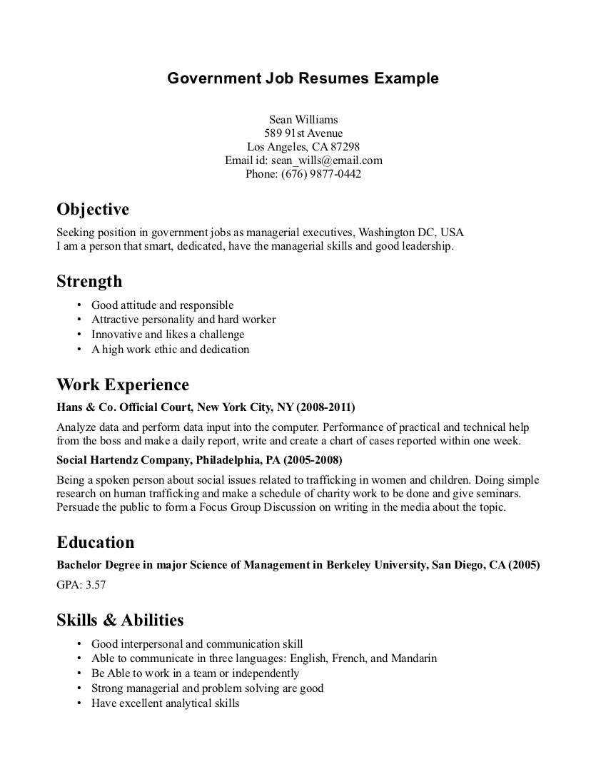 A Good Objective For A Resume Government Job Resumes Example  Government Job Resumes Example