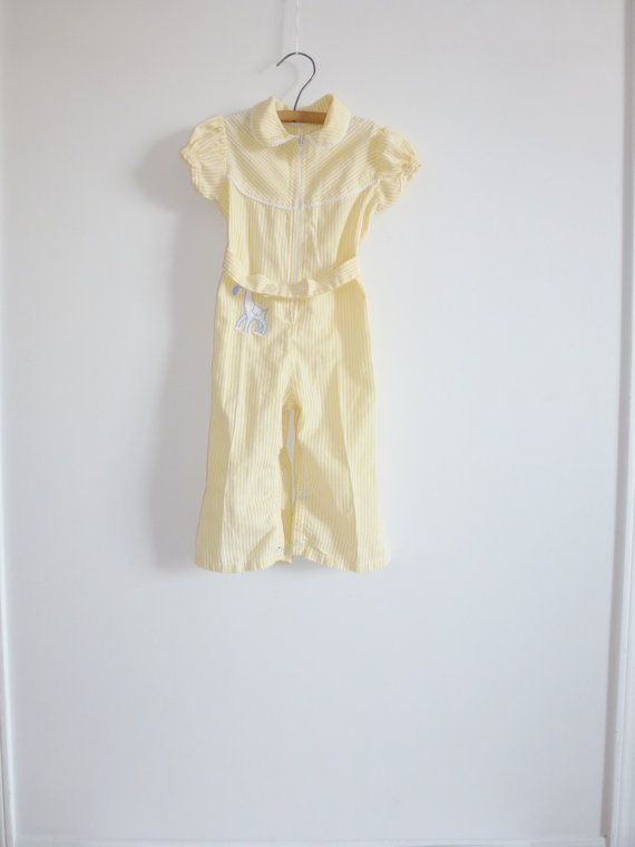 Vintage Yellow Stripe Horse Romper on Etsy, $7.95