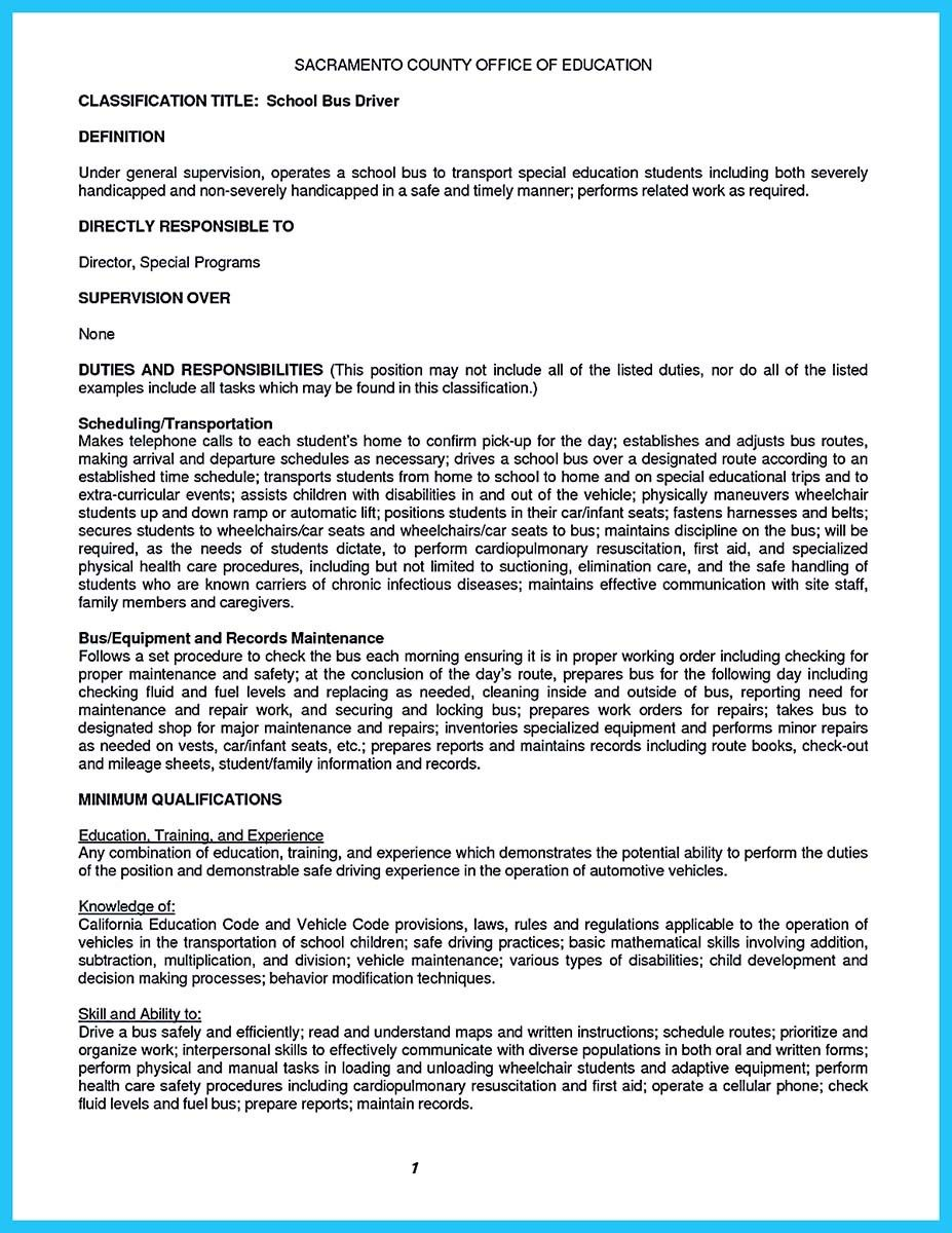 Resume Definition Job Awesome Stunning Bus Driver Resume To Gain The Serious Bus Driver