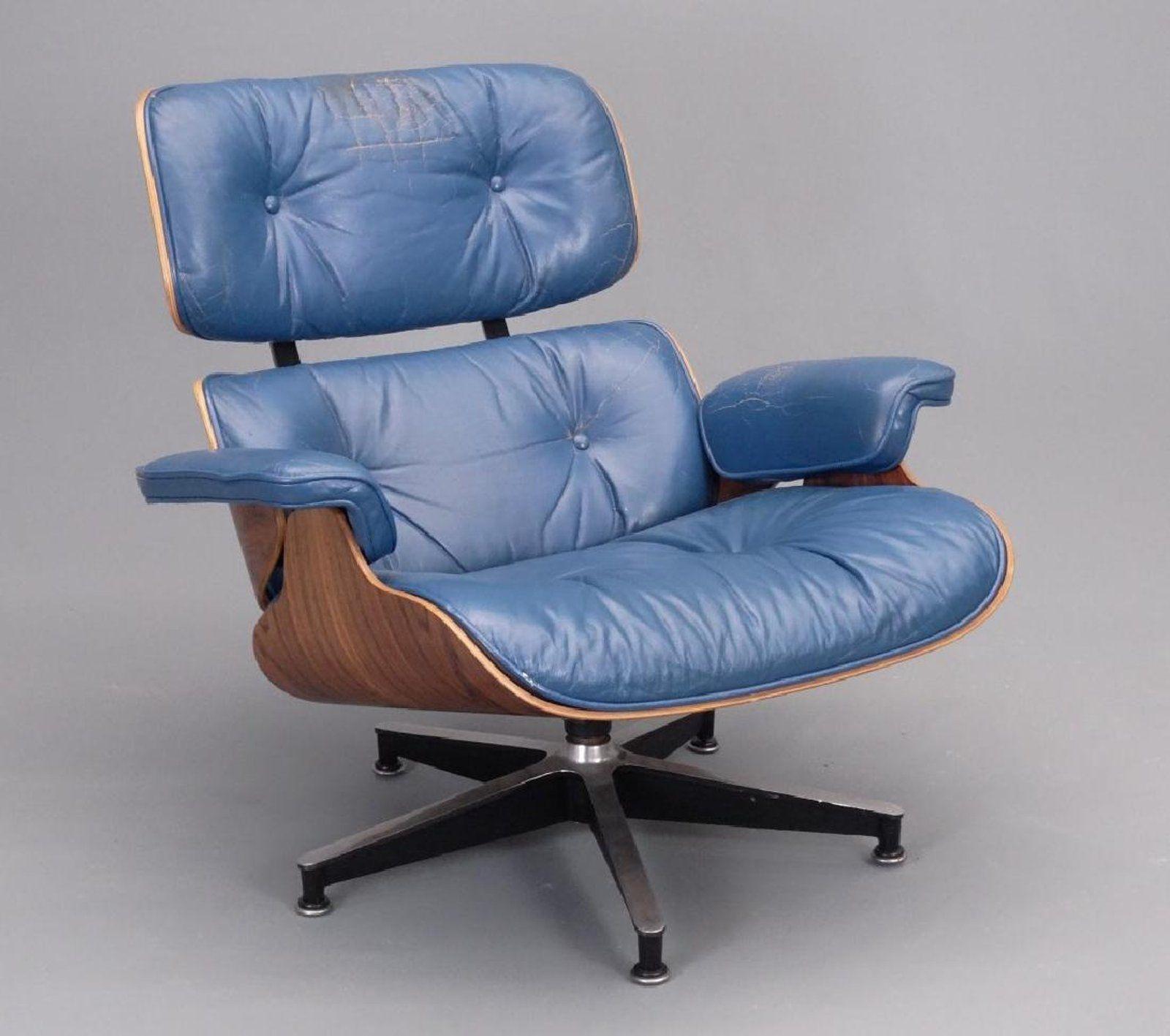 Vintage Herman Miller Eames Chair In Blue Leather Herman