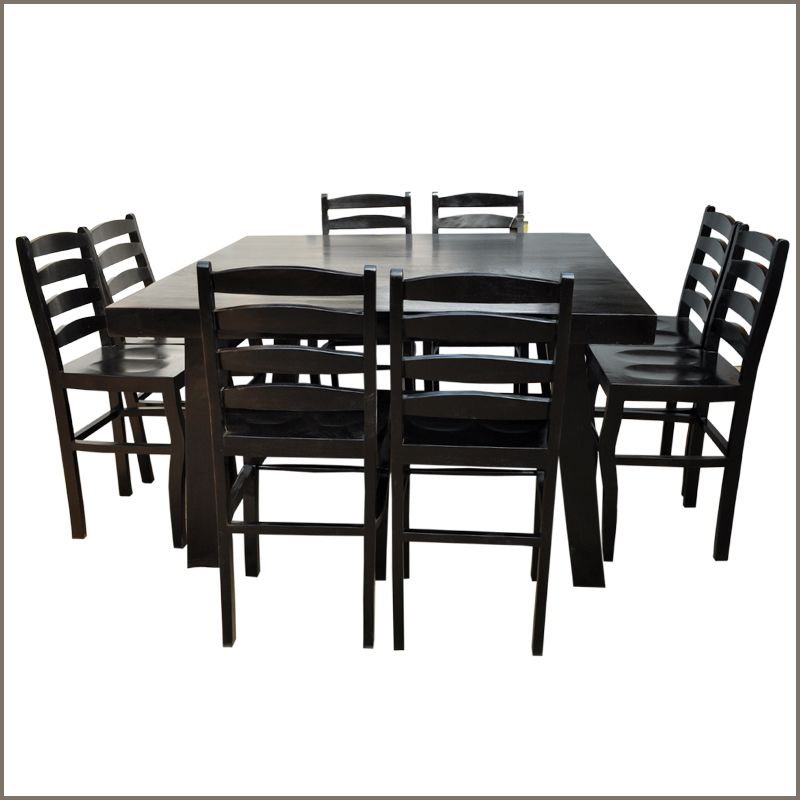 Our Kansas City Elevated Counter Height 9pc Dining Set W Ladder Back Chairs  Is Handmade From