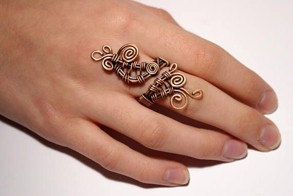 Boho ring, copper ring, wire wrapped ring, bohemian ring, wire ...