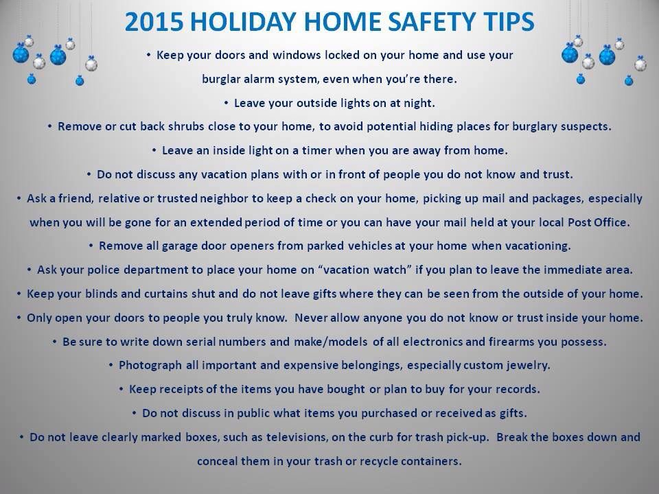 Home Safety Tips For The Holiday Season Brought To You By Portsmouth Police Department