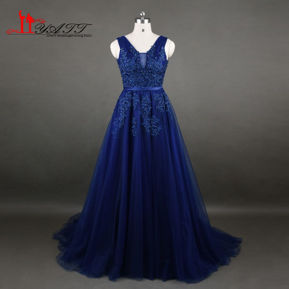 Click to buy ucuc real photo amazing dark blue evening prom dress