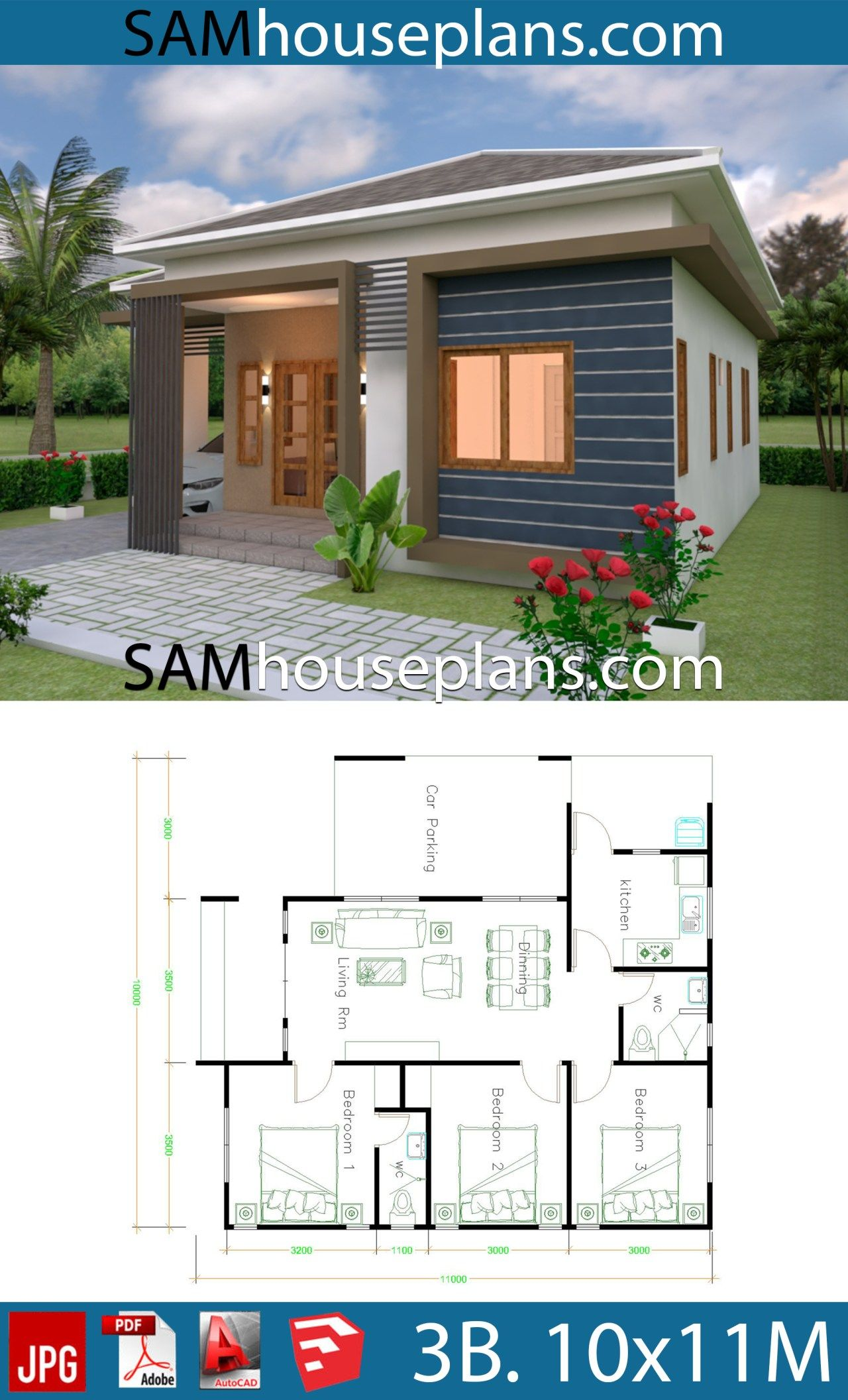 House Plans 10x11 With 3 Bedrooms Roof Tiles Sam House Plans Wooden House Plans Small House Design Plans House Plans