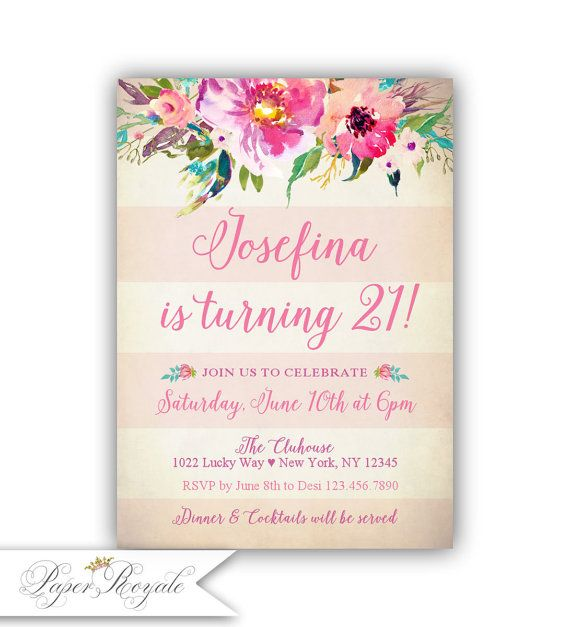 21st Birthday Invitation Floral Vintage Watercolor by PartyRoyale