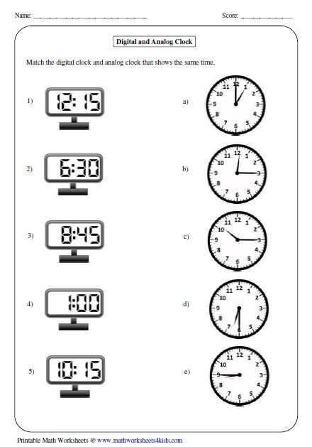 all kinds of time worksheets matching analog and digital clock telling time math math for. Black Bedroom Furniture Sets. Home Design Ideas