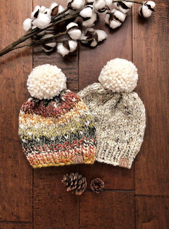 2c05ca0e6d9 Customizable Knit Hat Pom-Pom Hat Hats for Women   Kids Knit Beanie Pom Pom  Beanie Women s Hat Child