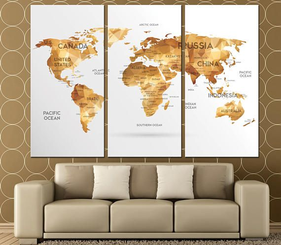 Large world map wall art with countries names canvas & Large world map wall art with countries names canvas printExtra ...