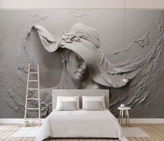Sculpture Wallpaper 3D Embossed Look Wall Mural Pretty Woman Cement Wall Art Living Room Bedroom Cafe Design