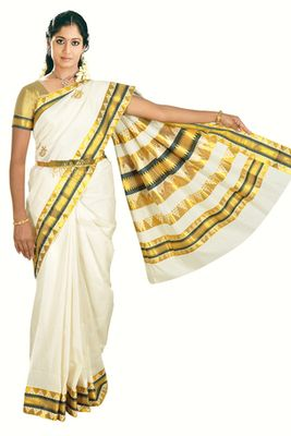 675170bcc3e Fashionkiosks cotton cream weaved kerala kasavu saree with lace work and  gold blouse South Silk Sarees