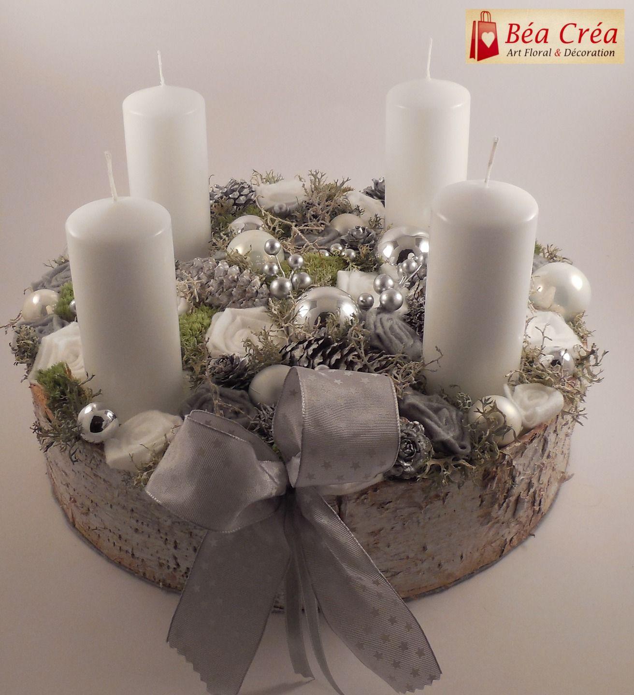 couronne de l 39 avent pour no l blanche et grise avec bougies accessoires de maison par bea crea. Black Bedroom Furniture Sets. Home Design Ideas