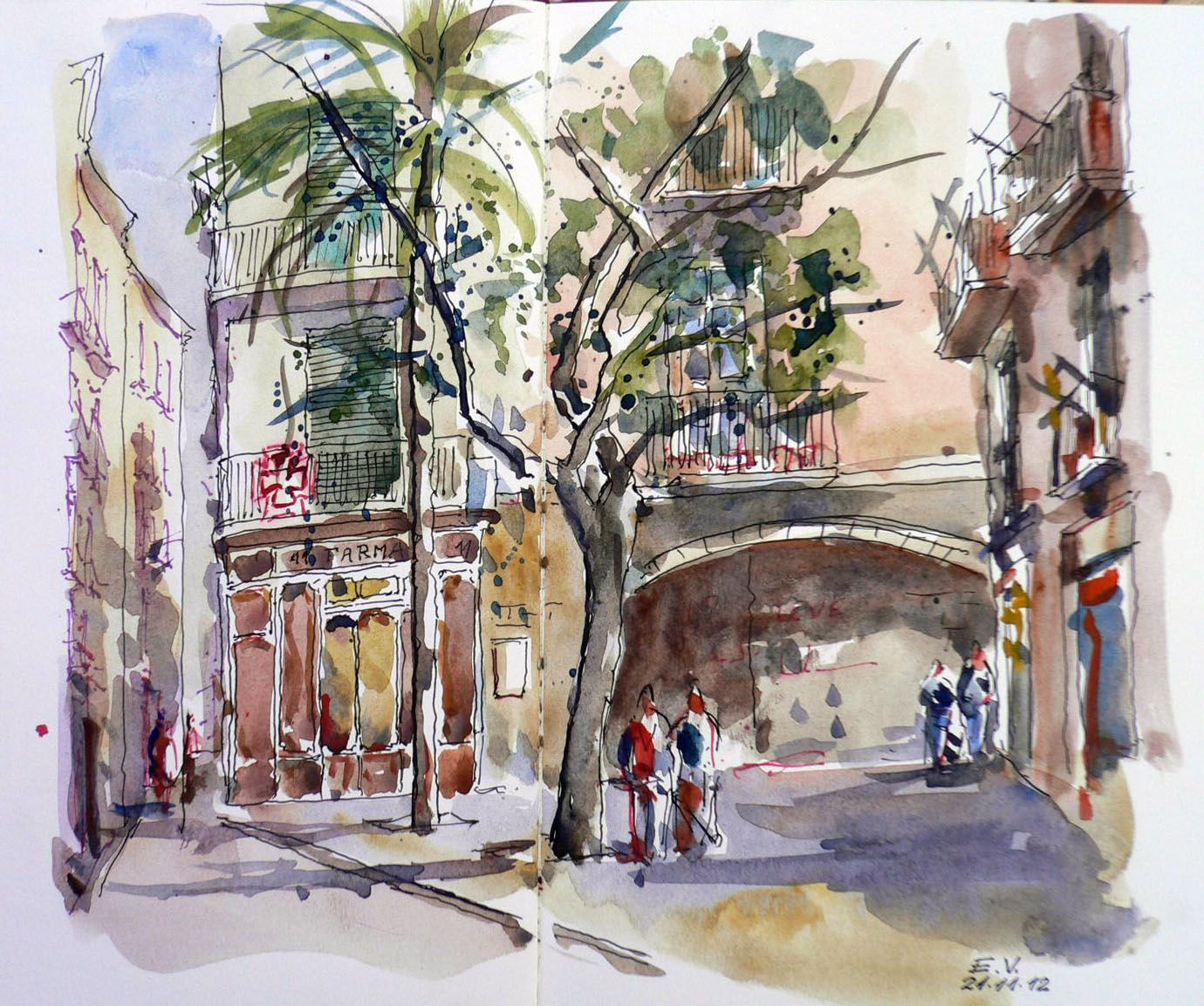 Urban Sketchers Spain. El mundo dibujo a dibujo.: Plaza de la Lana - Barcelona