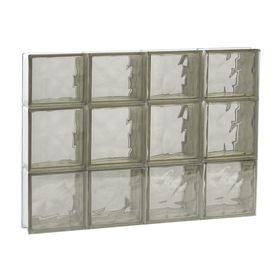 Redi2set Wavy Bronze Pattern Frameless Replacement Glass Block Window Rough Opening 32 In X 22 In Actual 31 In X 21 Glass Block Windows