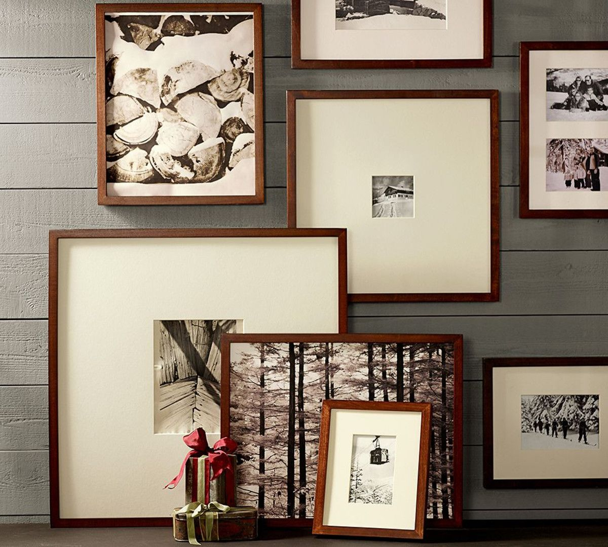 Pottery Barn Picture Wall Arrangements: Wood Gallery Oversized Mat Frames
