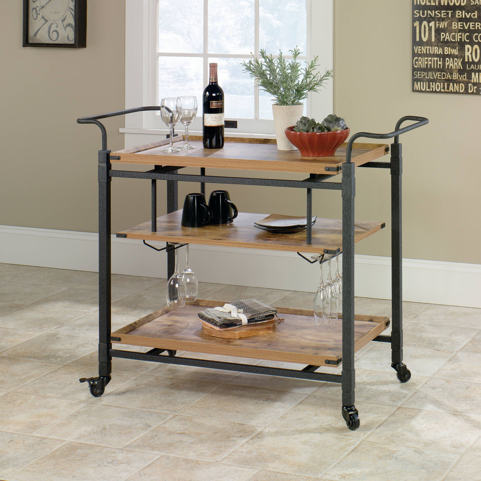 Better Homes and Gardens Rustic Country Bar Cart, Antiqued Black/Pine