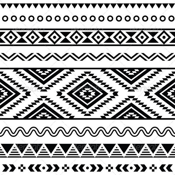 9205c33a8b71b Tribal Seamless Pattern, Aztecb Black and White #GraphicRiver Vector seamless  aztec ornament, ethnic pattern
