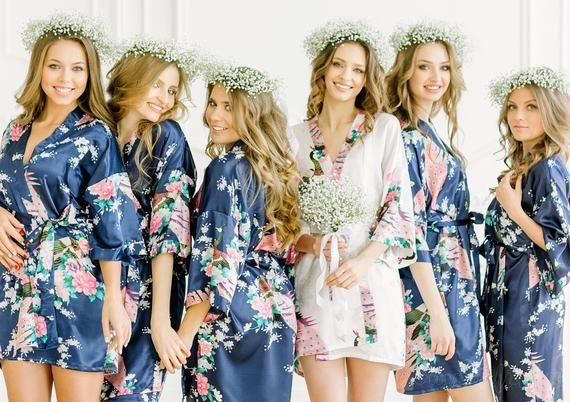 644b33fd437ee Set of 7 Bridesmaid robes // ADULT & KIDS Bridesmaid robe - Floral Satin  Bridal Robes - Dressing Gow