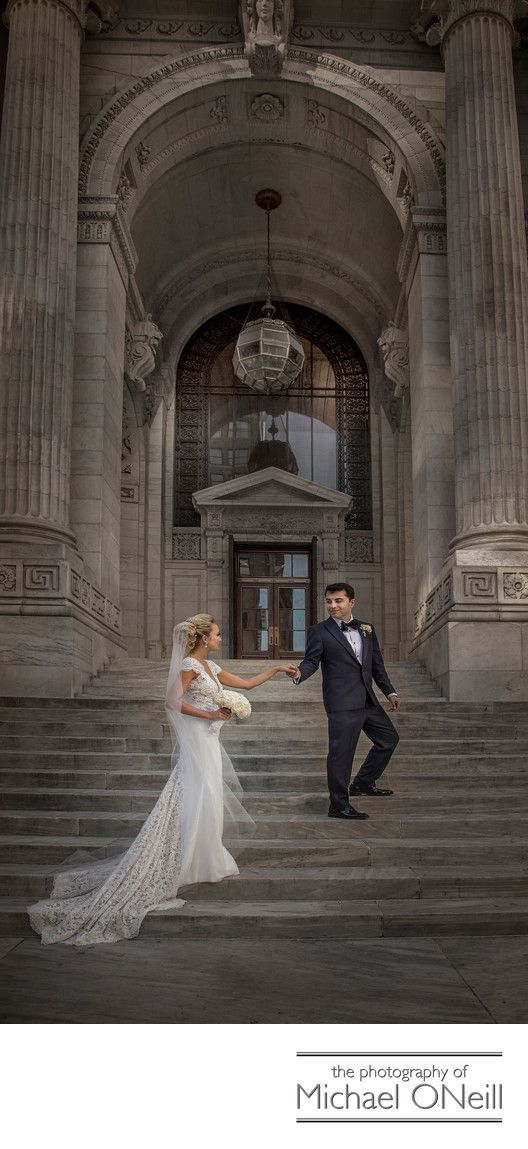 NYC Wedding Pictures At Iconic Buildings New York Library Long Island Photographer Architecture Landmark Structures