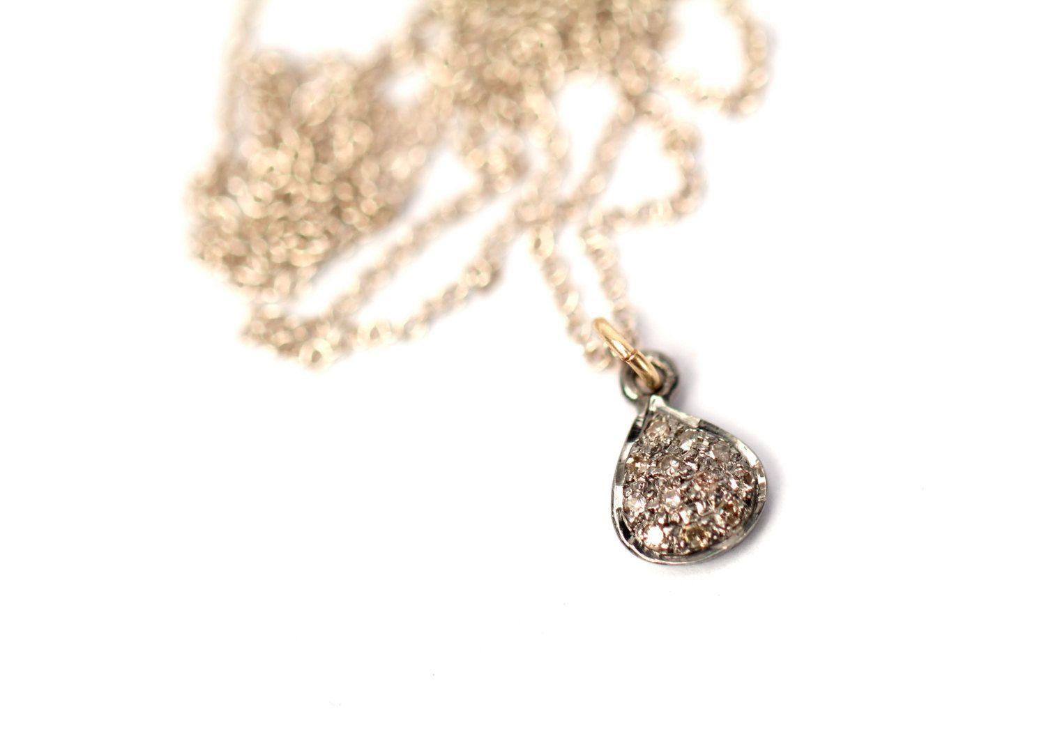 Tiny diamond necklace pave diamond necklace petite delicate