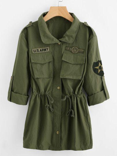 Olive Green Camo Print Hooded Shawl Collar Wrap Jacket -SheIn(Sheinside) 4197ad4a1