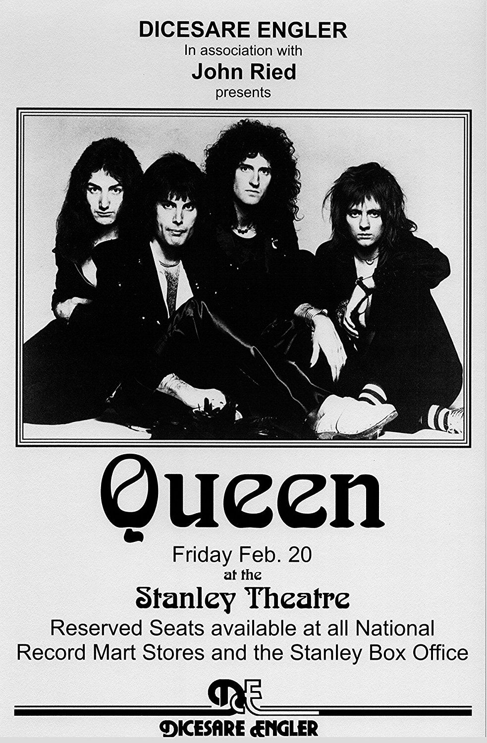 Queen A Night At The Opera Retro Art Print Poster Size Print Of Retro Concert Poster Featur Concert Posters Vintage Concert Posters Music Concert Posters